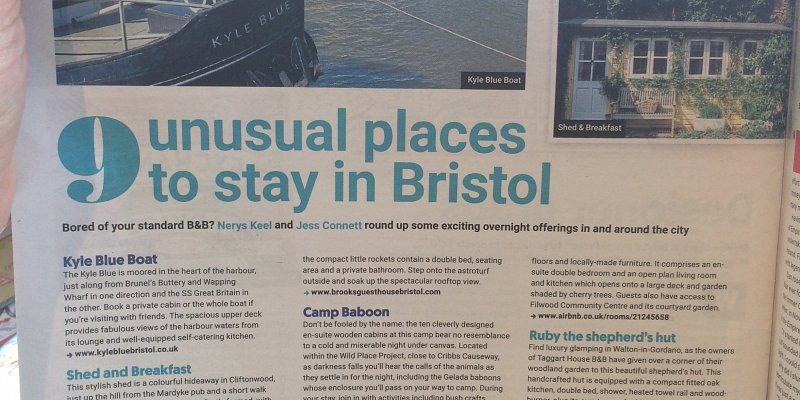 shed and breakfast listed as one of the 9 Unusual places to stay in Bristol!